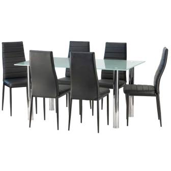 DIOR FROSTED GLASS DINING TABLE & 6 X BETTY DINING CHAIR