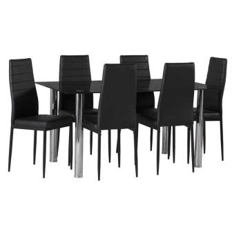 DIOR BLACK GLASS DINING TABLE & 6 X BETTY DINING CHAIR